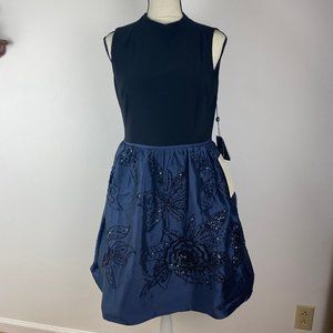 NWT Adrianna Papell Beaded Taffeta Jersey Dress